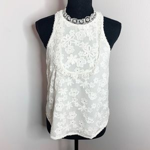 Joie Sleeveless White Embroidered Floral Top
